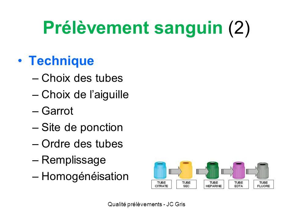 Prélèvement sanguin (2) Choix des tubes –Volume Épargne vs.