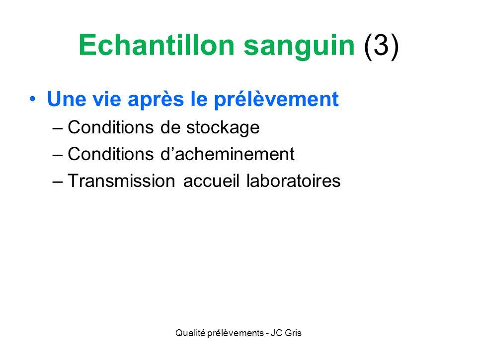 Prélèvement sanguin (3) Conditions de stockage –La plus courte possible Rolls: 30 min.