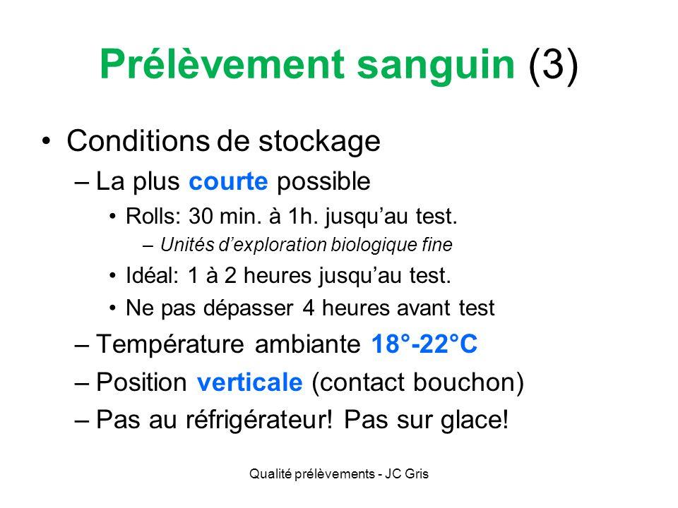 Prélèvement sanguin (3) Conditions dacheminement –Pas de variation majeure de température –Minimiser les chocs –Transport par systèmes pneumatiques.