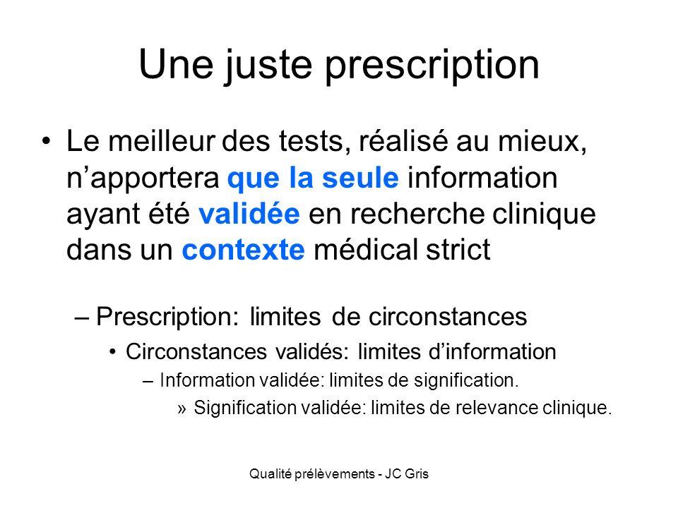 Une prescription rationnelle Toute prescription doit être justifiable… –Formation, encadrement,...