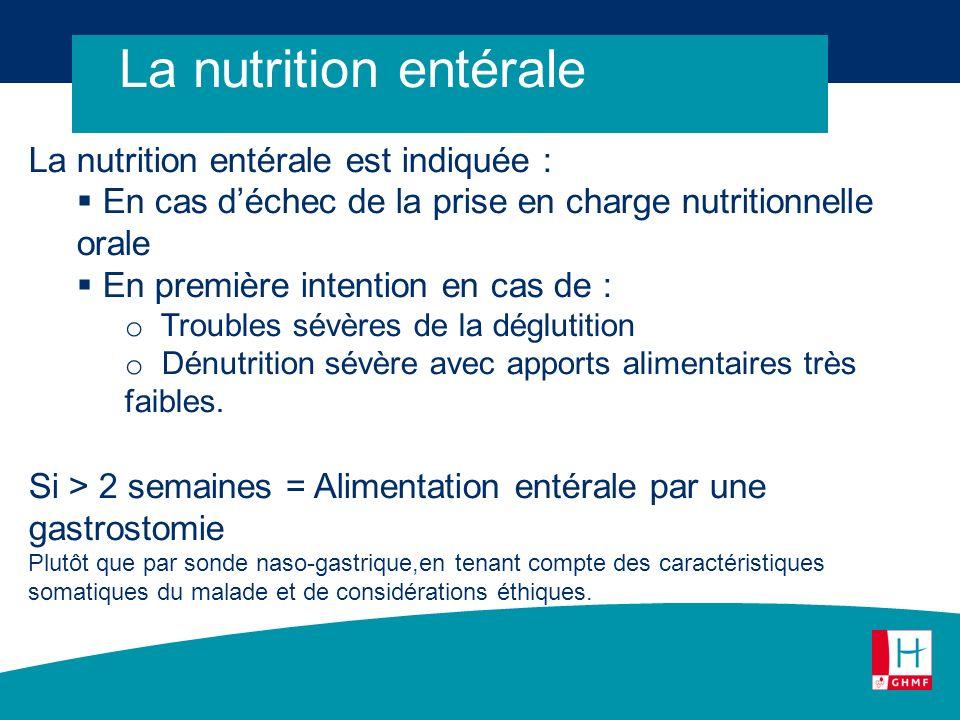 La nutrition entérale La nutrition entérale est indiquée : En cas déchec de la prise en charge nutritionnelle orale En première intention en cas de :