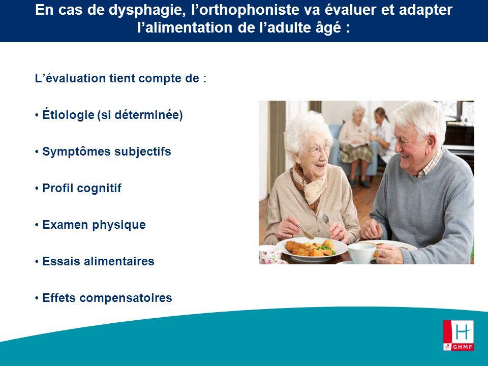 Lévaluation tient compte de : Étiologie (si déterminée) Symptômes subjectifs Profil cognitif Examen physique Essais alimentaires Effets compensatoires