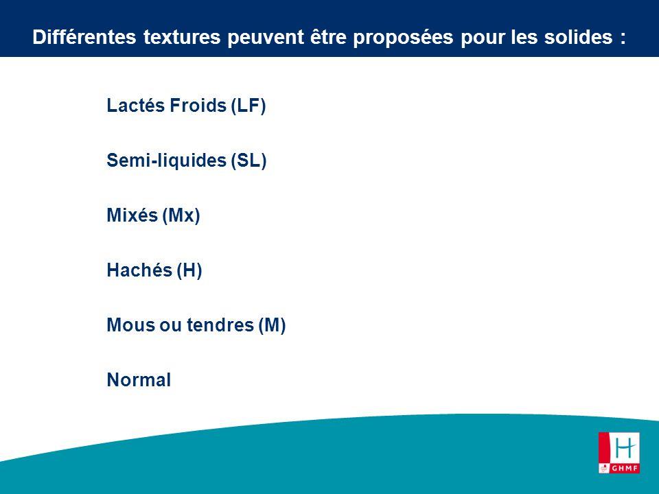 Lactés Froids (LF) Semi-liquides (SL) Mixés (Mx) Hachés (H) Mous ou tendres (M) Normal Différentes textures peuvent être proposées pour les solides :