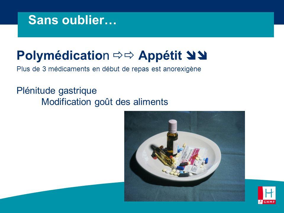 Polymédication Appétit Plus de 3 médicaments en début de repas est anorexigène Plénitude gastrique Modification goût des aliments Sans oublier…