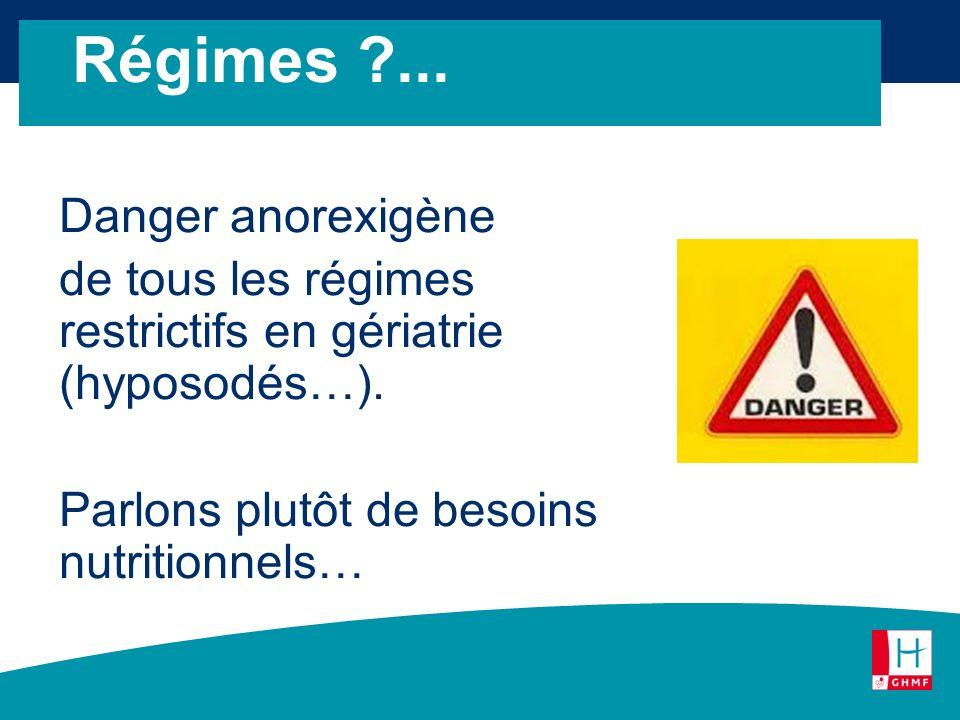 Danger anorexigène de tous les régimes restrictifs en gériatrie (hyposodés…). Parlons plutôt de besoins nutritionnels… Régimes ?...