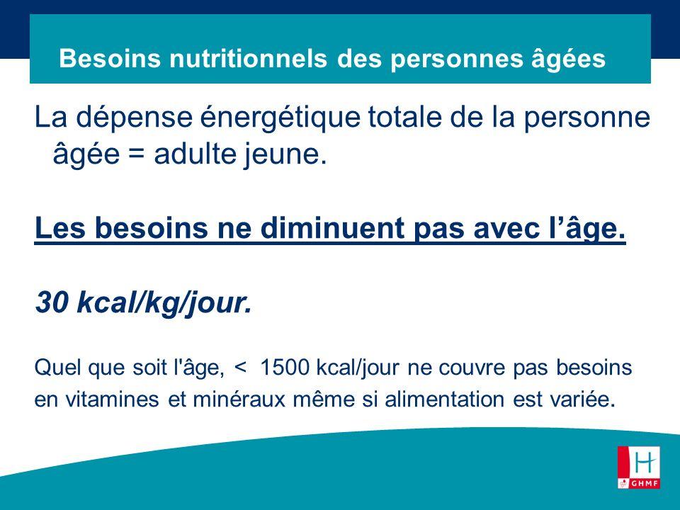 La dépense énergétique totale de la personne âgée = adulte jeune. Les besoins ne diminuent pas avec lâge. 30 kcal/kg/jour. Quel que soit l'âge, < 1500