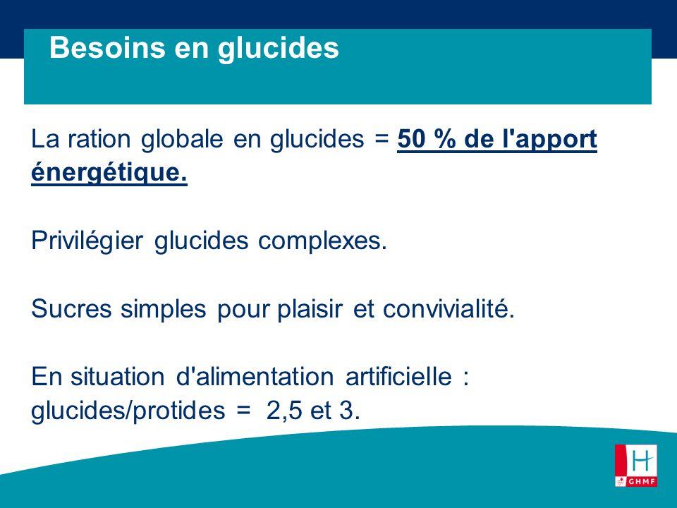 La ration globale en glucides = 50 % de l'apport énergétique. Privilégier glucides complexes. Sucres simples pour plaisir et convivialité. En situatio