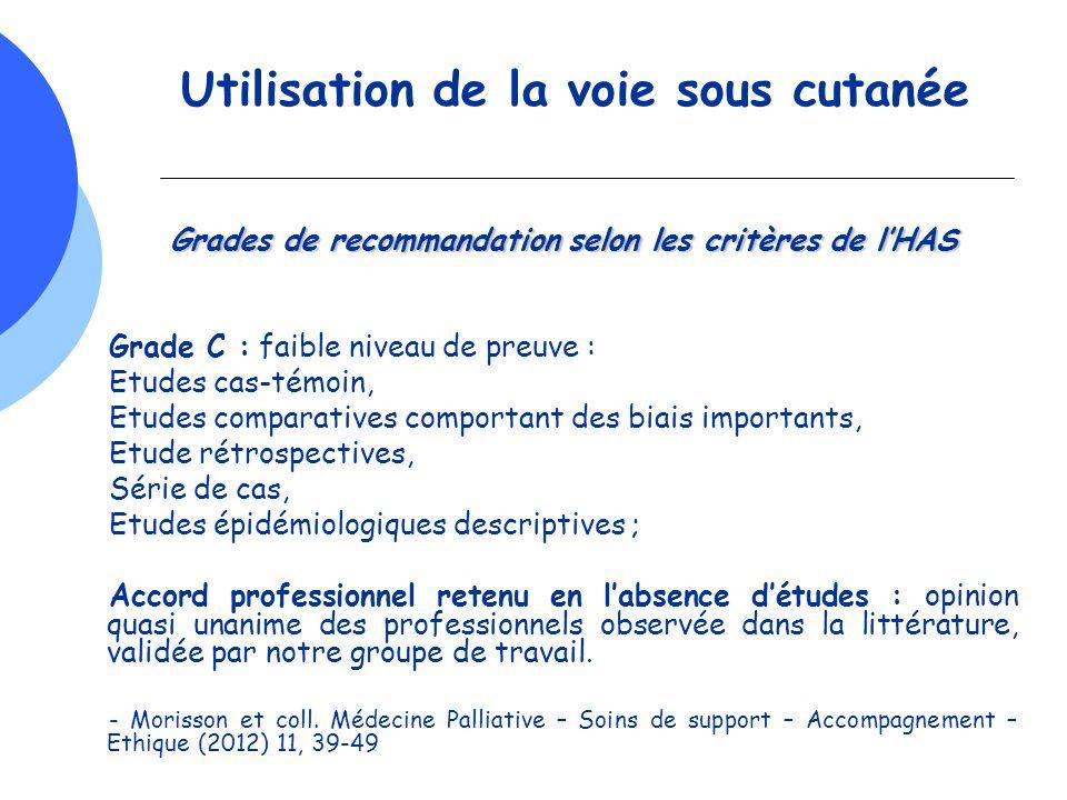 Grades de recommandation selon les critères de lHAS Grade C : faible niveau de preuve : Etudes cas-témoin, Etudes comparatives comportant des biais im