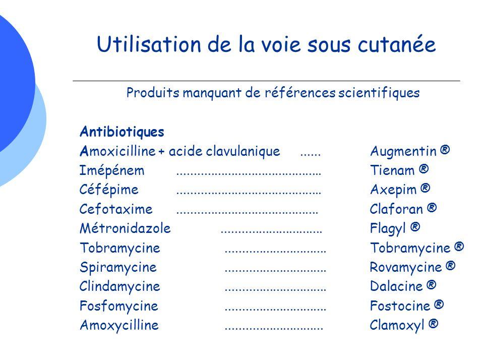 Utilisation de la voie sous cutanée Produits manquant de références scientifiques Antibiotiques Amoxicilline + acide clavulanique......Augmentin ® Imé