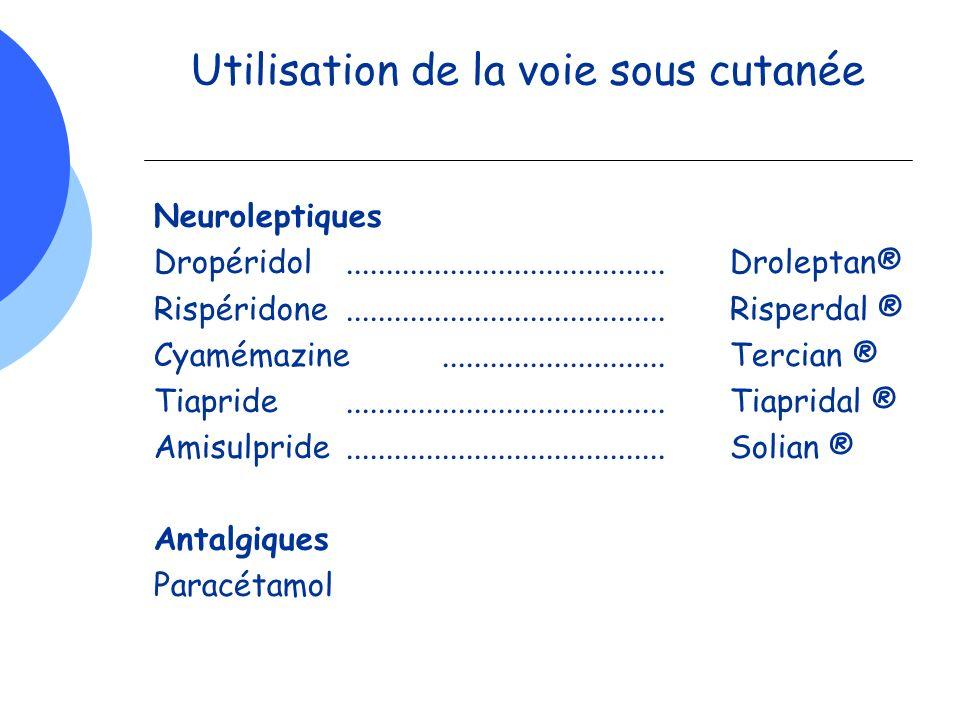 Utilisation de la voie sous cutanée Neuroleptiques Dropéridol........................................Droleptan® Rispéridone...........................