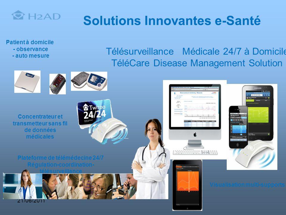 Visualisation multi-supports 21/06/2011 Solutions Innovantes e-Santé Patient à domicile - observance - auto mesure Concentrateur et transmetteur sans