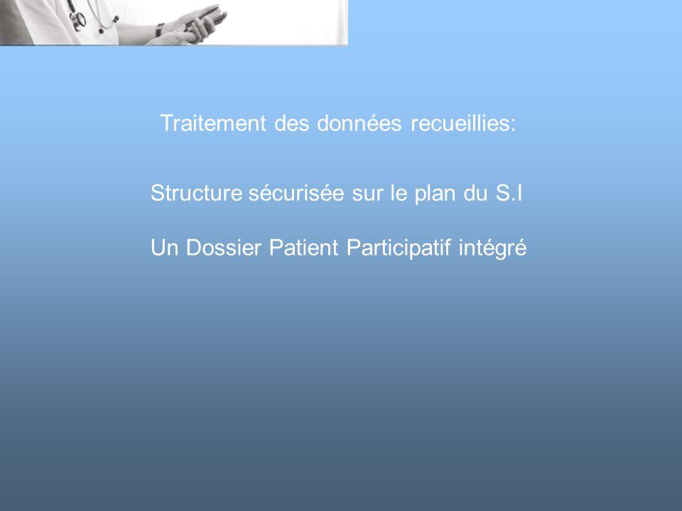 Structure sécurisée sur le plan du S.I Un Dossier Patient Participatif intégré Traitement des données recueillies: