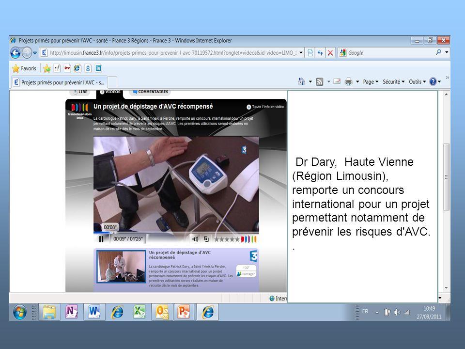 k Dr Dary, Haute Vienne (Région Limousin), remporte un concours international pour un projet permettant notamment de prévenir les risques d'AVC..
