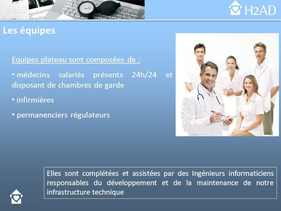 Les équipes Equipes plateau sont composées de : médecins salariés présents 24h/24 et disposant de chambres de garde infirmières permanenciers régulate