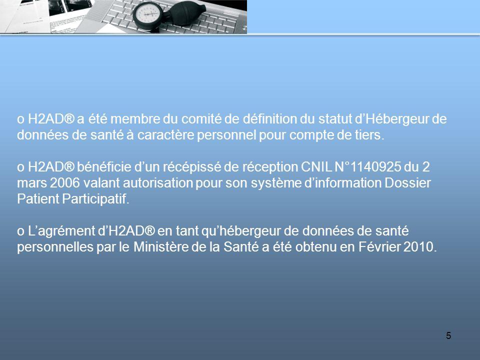 5 o H2AD® a été membre du comité de définition du statut dHébergeur de données de santé à caractère personnel pour compte de tiers. o H2AD® bénéficie