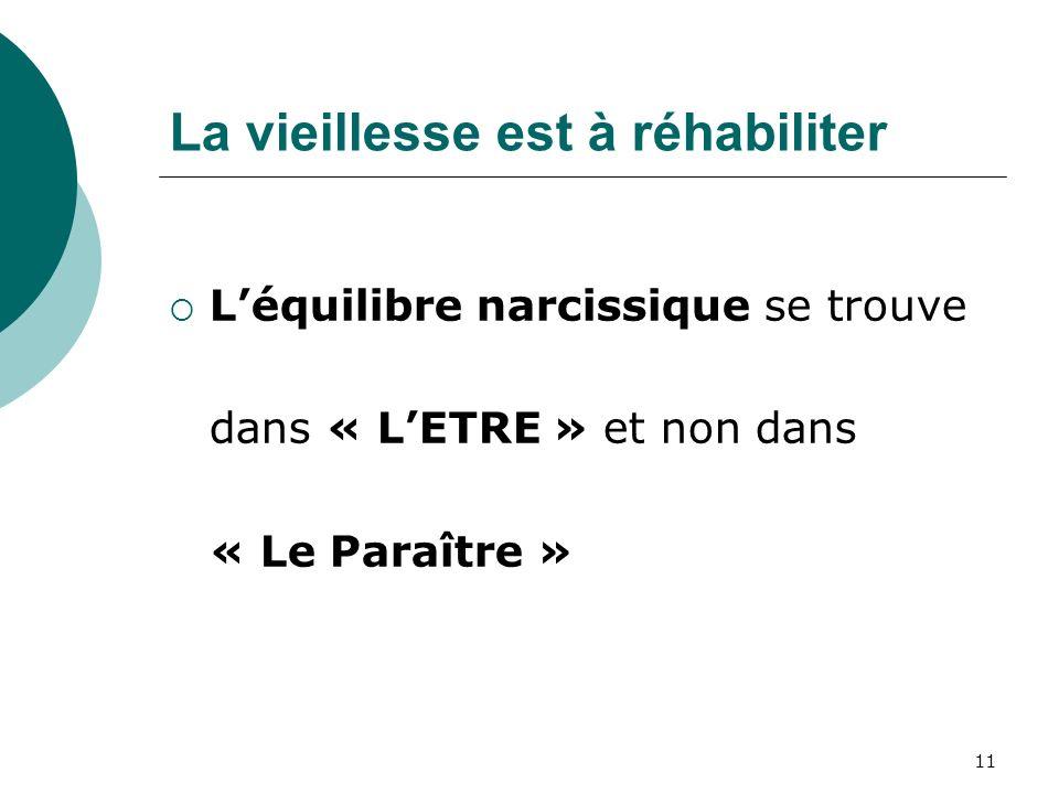 La vieillesse est à réhabiliter Léquilibre narcissique se trouve dans « LETRE » et non dans « Le Paraître » 11