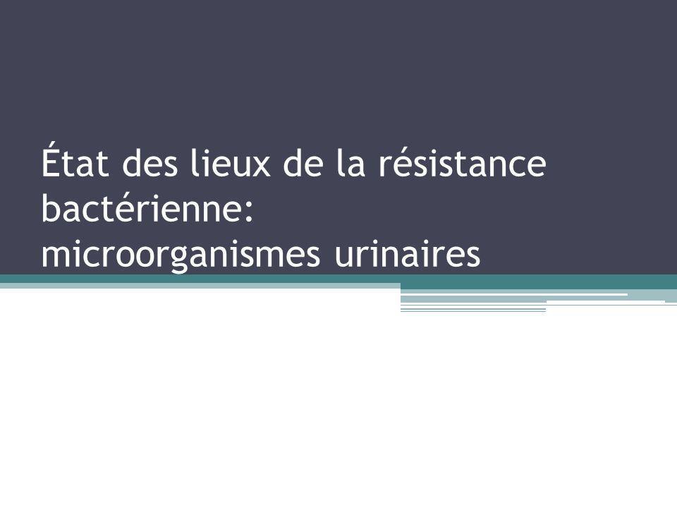 État des lieux de la résistance bactérienne: microorganismes urinaires