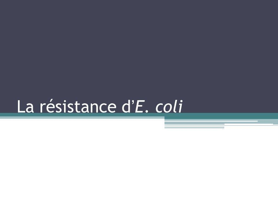 La résistance dE. coli