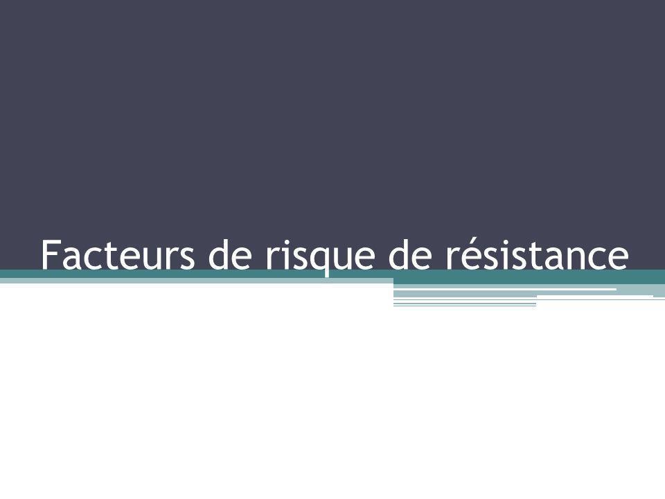 Facteurs de risque de résistance