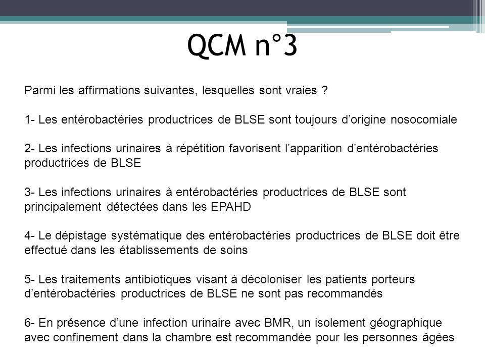 QCM n°3 Parmi les affirmations suivantes, lesquelles sont vraies ? 1- Les entérobactéries productrices de BLSE sont toujours dorigine nosocomiale 2- L