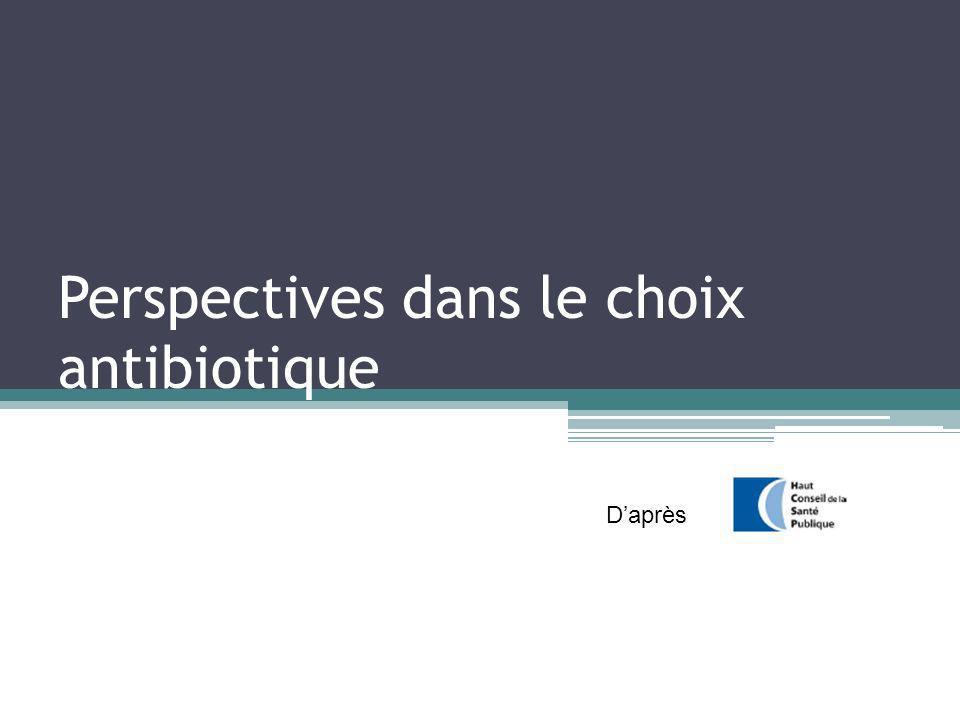 Perspectives dans le choix antibiotique Daprès