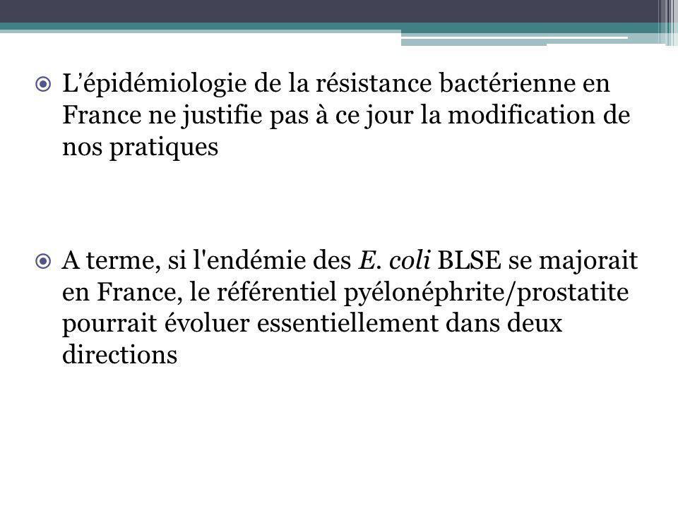 Lépidémiologie de la résistance bactérienne en France ne justifie pas à ce jour la modification de nos pratiques A terme, si l'endémie des E. coli BLS