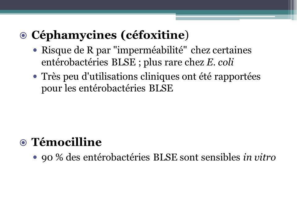 Céphamycines (céfoxitine) Risque de R par