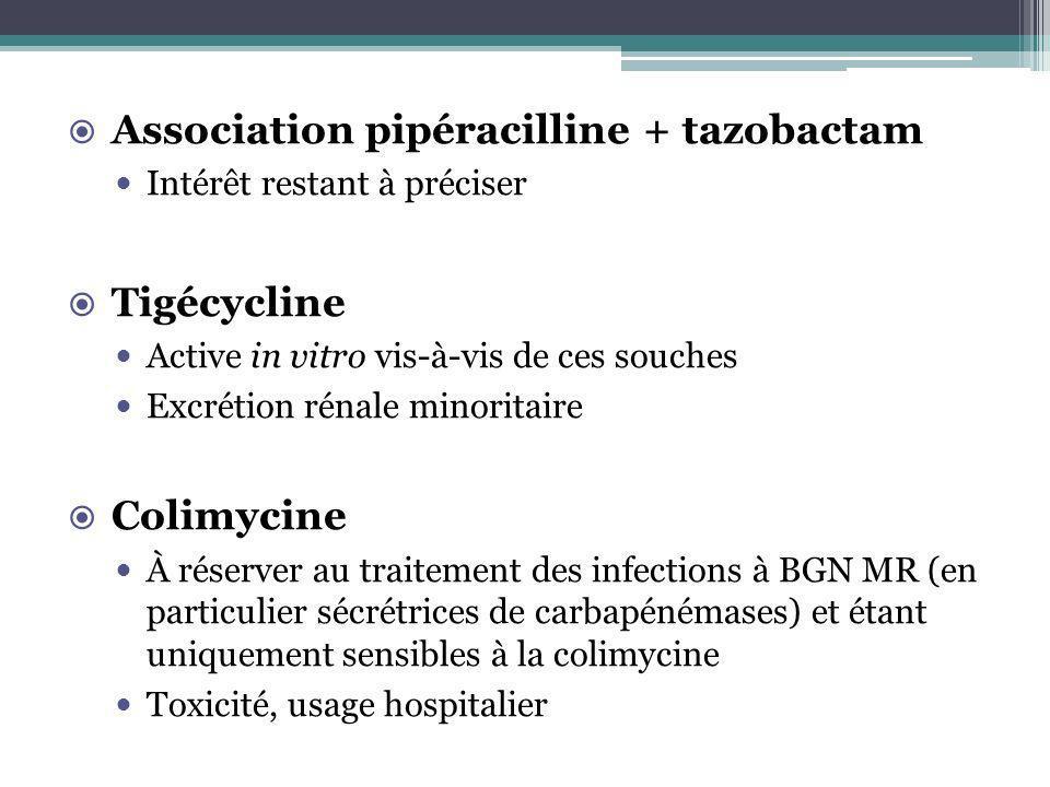 Association pipéracilline + tazobactam Intérêt restant à préciser Tigécycline Active in vitro vis-à-vis de ces souches Excrétion rénale minoritaire Co