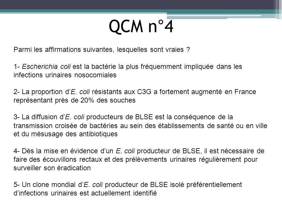 QCM n°4 Parmi les affirmations suivantes, lesquelles sont vraies ? 1- Escherichia coli est la bactérie la plus fréquemment impliquée dans les infectio