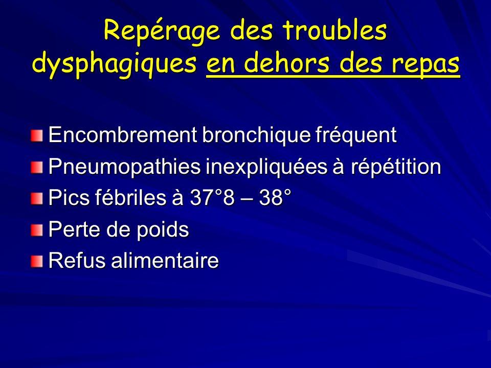 Repérage des troubles dysphagiques en dehors des repas Encombrement bronchique fréquent Pneumopathies inexpliquées à répétition Pics fébriles à 37°8 –