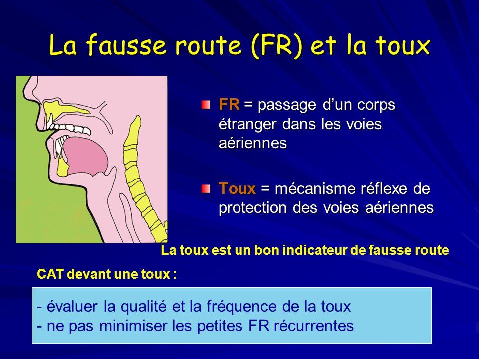 La fausse route (FR) et la toux FR = passage dun corps étranger dans les voies aériennes Toux = mécanisme réflexe de protection des voies aériennes -