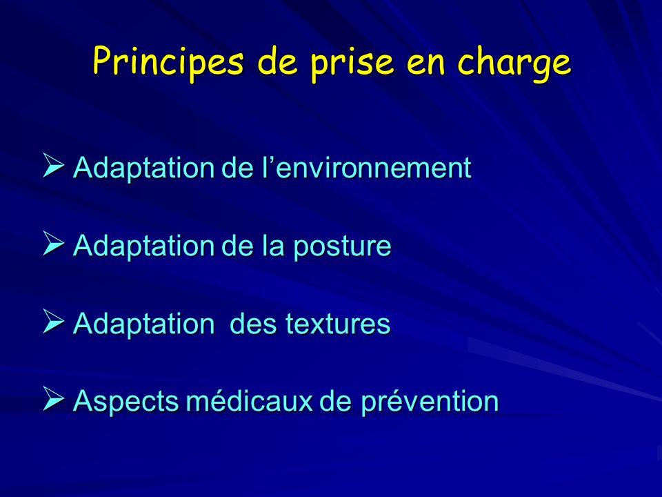 Principes de prise en charge Adaptation de lenvironnement Adaptation de lenvironnement Adaptation de la posture Adaptation de la posture Adaptation de