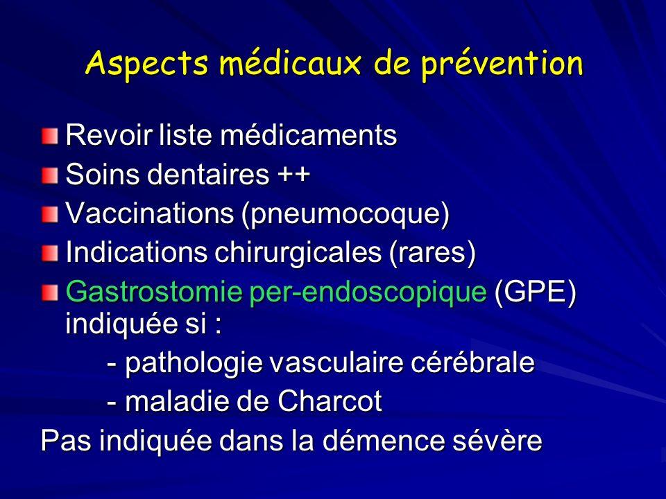 Aspects médicaux de prévention Revoir liste médicaments Soins dentaires ++ Vaccinations (pneumocoque) Indications chirurgicales (rares) Gastrostomie p