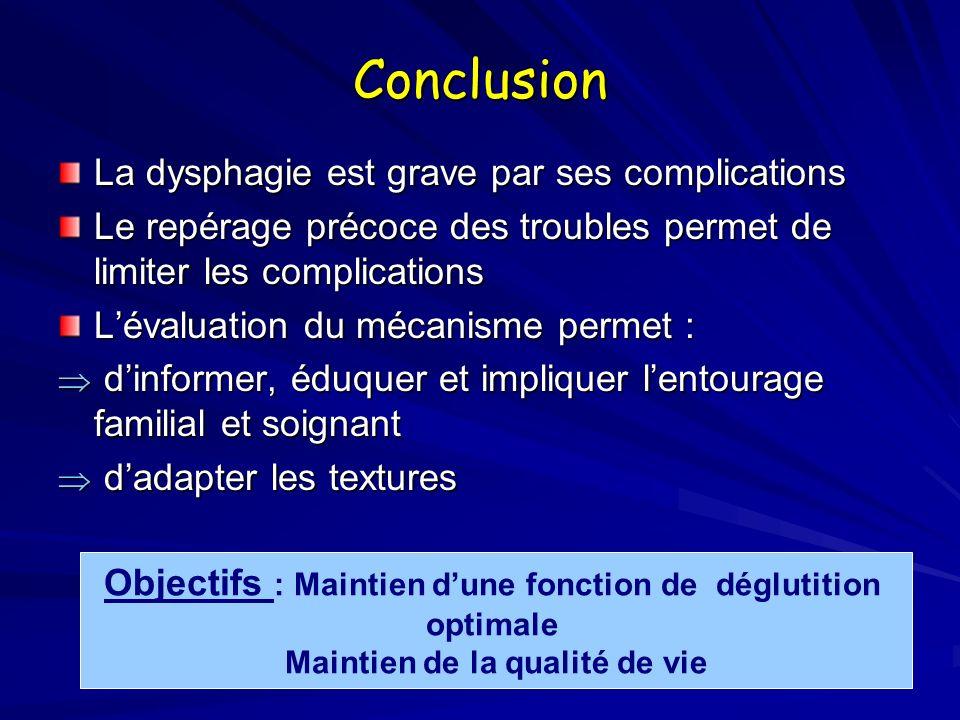Conclusion La dysphagie est grave par ses complications Le repérage précoce des troubles permet de limiter les complications Lévaluation du mécanisme