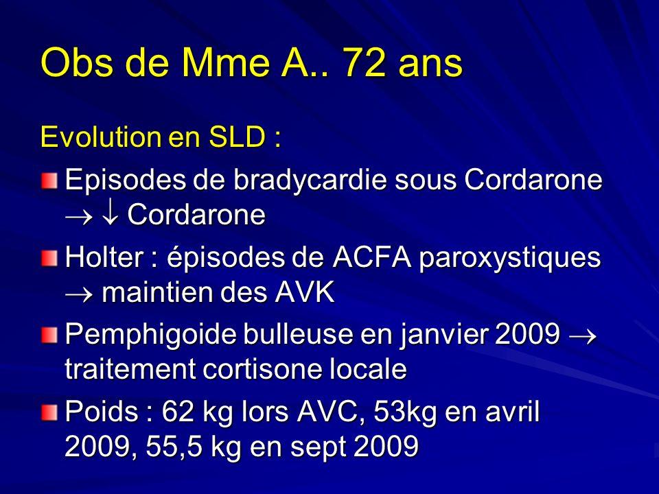 Obs de Mme A.. 72 ans Evolution en SLD : Episodes de bradycardie sous Cordarone Cordarone Holter : épisodes de ACFA paroxystiques maintien des AVK Pem