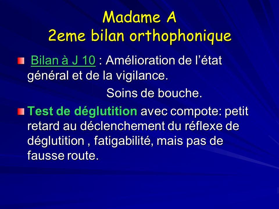 Madame A 2eme bilan orthophonique Bilan à J 10 : Amélioration de létat général et de la vigilance. Bilan à J 10 : Amélioration de létat général et de