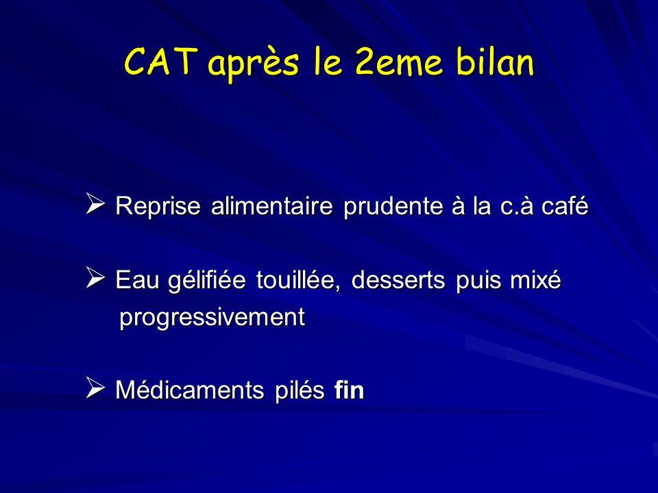 CAT après le 2eme bilan Reprise alimentaire prudente à la c.à café Reprise alimentaire prudente à la c.à café Eau gélifiée touillée, desserts puis mix