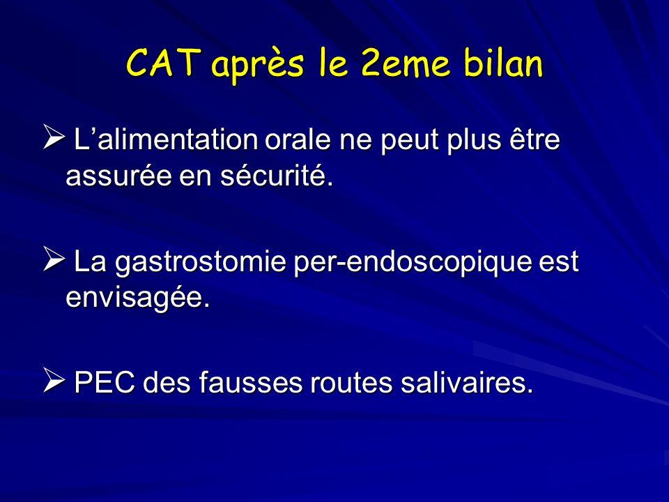 CAT après le 2eme bilan Lalimentation orale ne peut plus être assurée en sécurité. Lalimentation orale ne peut plus être assurée en sécurité. La gastr