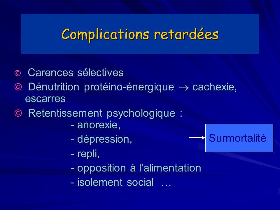 Complications retardées © Carences sélectives © Dénutrition protéino-énergique cachexie, escarres © Retentissement psychologique : - anorexie, - dépre