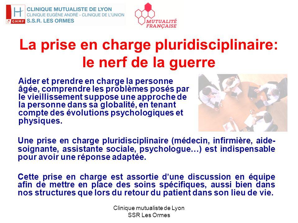 La prise en charge pluridisciplinaire: le nerf de la guerre Une prise en charge pluridisciplinaire (médecin, infirmière, aide- soignante, assistante s