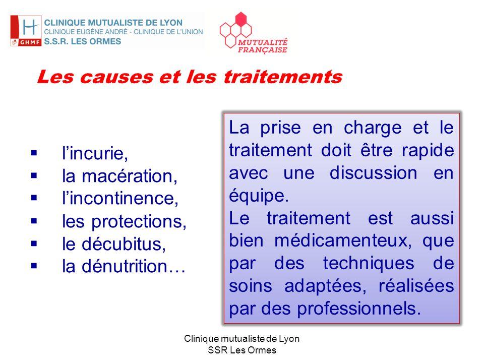 lincurie, la macération, lincontinence, les protections, le décubitus, la dénutrition… Clinique mutualiste de Lyon SSR Les Ormes Les causes et les tra
