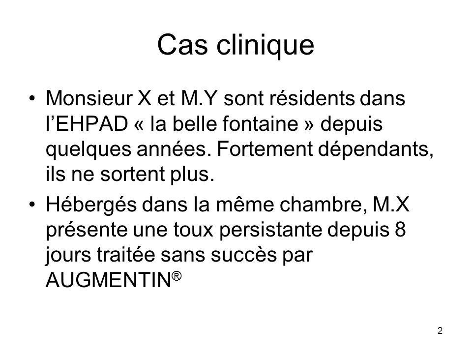 2 Cas clinique Monsieur X et M.Y sont résidents dans lEHPAD « la belle fontaine » depuis quelques années. Fortement dépendants, ils ne sortent plus. H