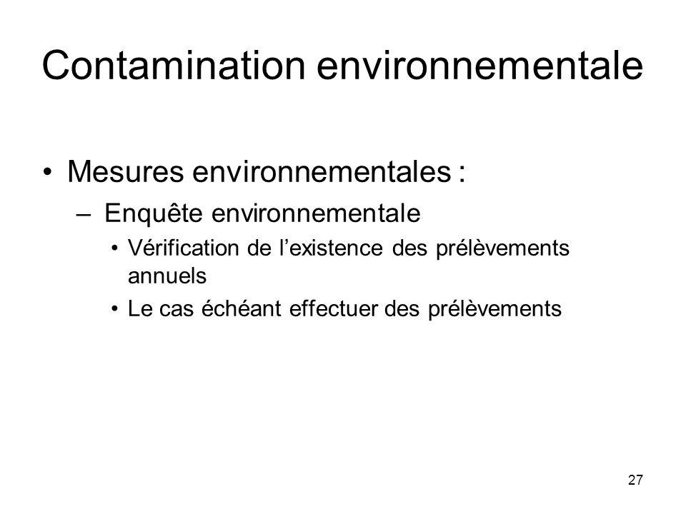 27 Contamination environnementale Mesures environnementales : – Enquête environnementale Vérification de lexistence des prélèvements annuels Le cas éc