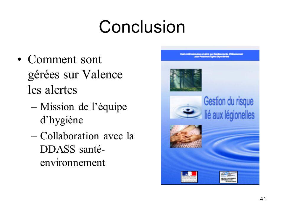 41 Conclusion Comment sont gérées sur Valence les alertes –Mission de léquipe dhygiène –Collaboration avec la DDASS santé- environnement