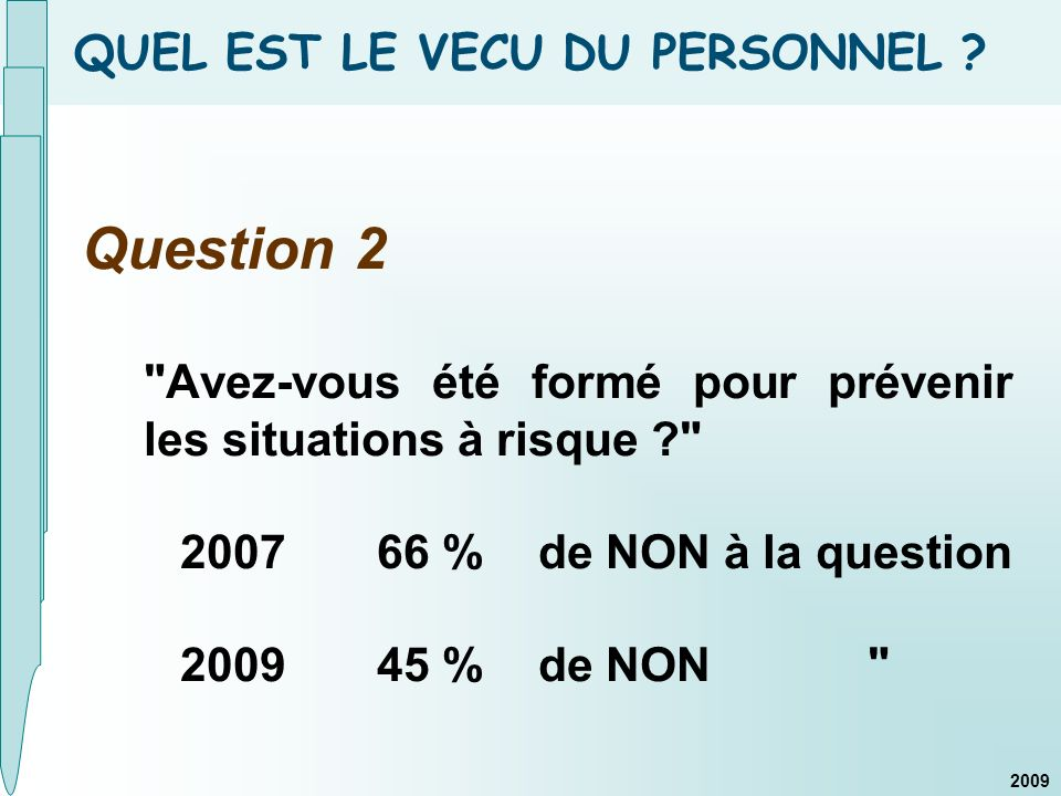 QUEL EST LE VECU DU PERSONNEL ? Question 2