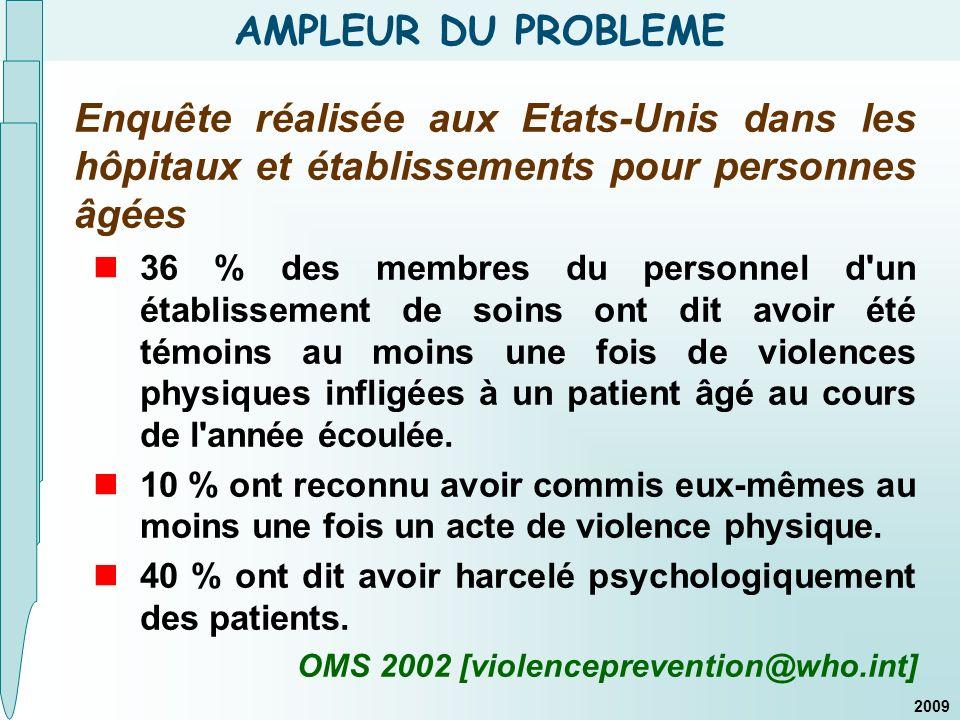 COMMENTAIRES La maltraitance = sujet sensible pour les soignants ; taux de réponses plus élevé entre la 1 ère et 2 ème enquête.