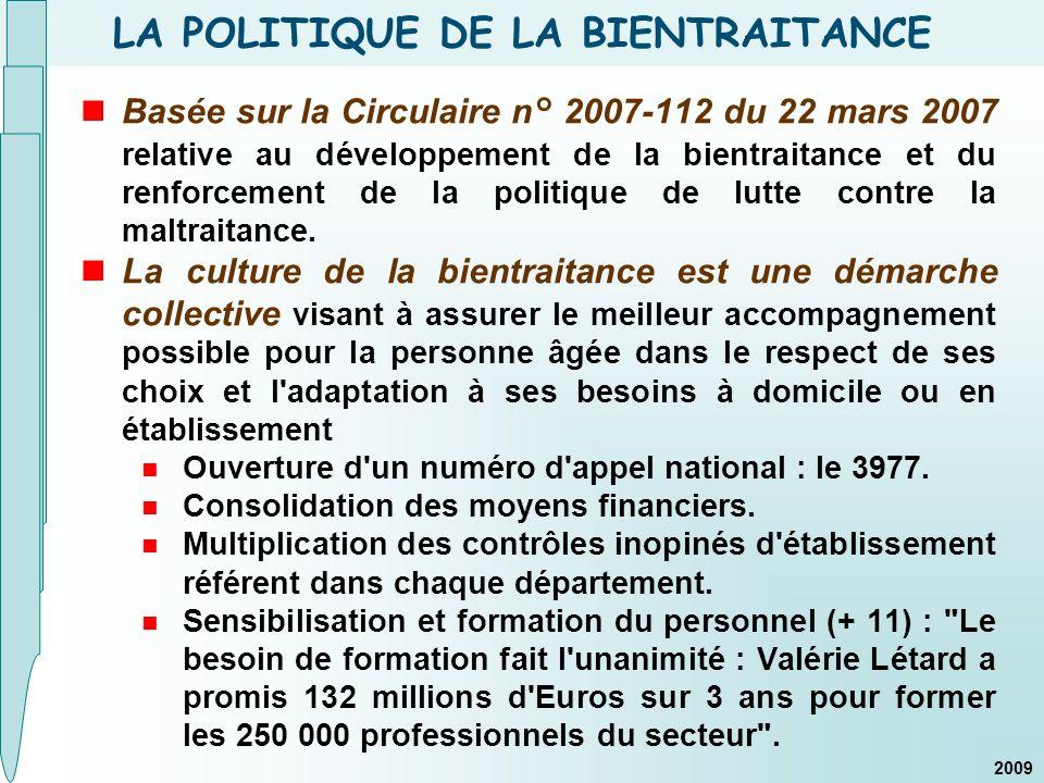 LA POLITIQUE DE LA BIENTRAITANCE Basée sur la Circulaire n° 2007-112 du 22 mars 2007 relative au développement de la bientraitance et du renforcement de la politique de lutte contre la maltraitance.
