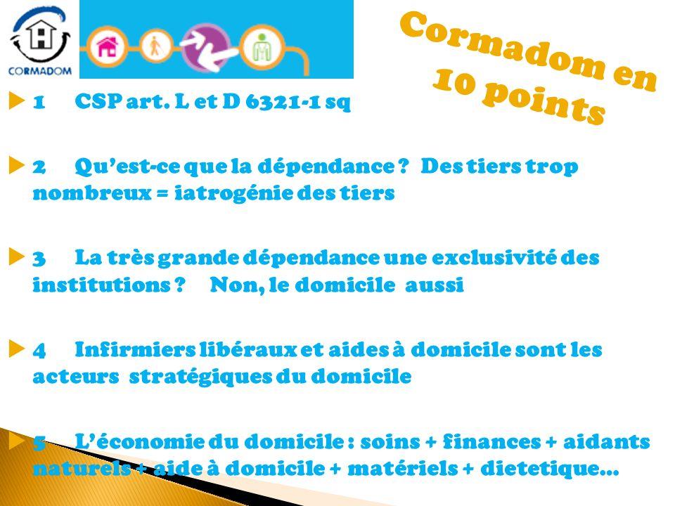 Cormadom en 10 points 1 CSP art. L et D 6321-1 sq 2 Quest-ce que la dépendance ? Des tiers trop nombreux = iatrogénie des tiers 3 La très grande dépen