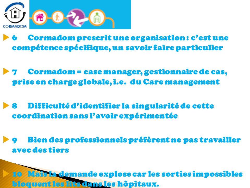 6 Cormadom prescrit une organisation : cest une compétence spécifique, un savoir faire particulier 7Cormadom = case manager, gestionnaire de cas, pris