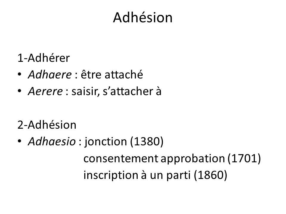 Adhésion 1-Adhérer Adhaere : être attaché Aerere : saisir, sattacher à 2-Adhésion Adhaesio : jonction (1380) consentement approbation (1701) inscripti
